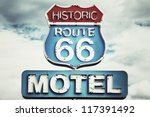 motel sign on route 66 usa | Shutterstock . vector #117391492