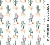 watercolor succulents seamless... | Shutterstock . vector #1173922075