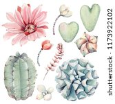 watercolor vintage succulents... | Shutterstock . vector #1173922102