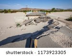 flood damaged closed highway... | Shutterstock . vector #1173923305