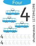 number four  handwriting... | Shutterstock .eps vector #1173941398
