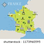 touristic map of france. travel ... | Shutterstock .eps vector #1173960595