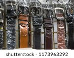 the leather belts for sale in... | Shutterstock . vector #1173963292