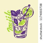 alcohol cocktail mojito in... | Shutterstock .eps vector #1174003738