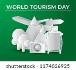 paper world tourism day tourism ... | Shutterstock .eps vector #1174026925
