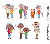 set of grandparents with kids...   Shutterstock .eps vector #1174033828
