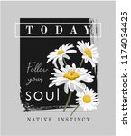 typography slogan with daisy... | Shutterstock .eps vector #1174034425