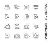 online shopping related icons ... | Shutterstock .eps vector #1174038922