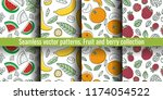 seamless pattern set. juicy... | Shutterstock .eps vector #1174054522