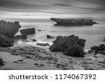 black and white beach water... | Shutterstock . vector #1174067392