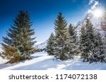 stunning winter sunrise over...   Shutterstock . vector #1174072138