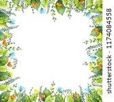 frame of watercolor summer... | Shutterstock . vector #1174084558