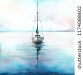 Boat At The Sea. Watercolor...