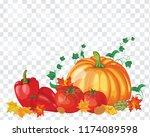 thanksgiving day greeting card. ... | Shutterstock .eps vector #1174089598