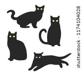 silhouette of four cats. set of ... | Shutterstock .eps vector #1174104028