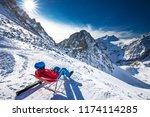 young happtyattractive skier...   Shutterstock . vector #1174114285