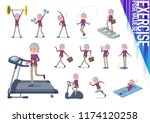 a set of old women on exercise... | Shutterstock .eps vector #1174120258