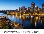 Vancouver city at dusk, British Columbia, Canada. - stock photo