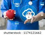doctor pushing button cloud... | Shutterstock . vector #1174121662