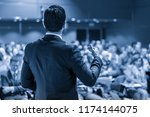 speaker giving a talk on... | Shutterstock . vector #1174144075