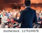 speaker giving a talk on... | Shutterstock . vector #1174144078