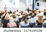 speaker giving a talk in... | Shutterstock . vector #1174144108