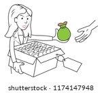 girl woman sales girl selling... | Shutterstock .eps vector #1174147948