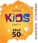 super banner for kids. vector ... | Shutterstock .eps vector #1174148365
