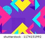 memphis seamless pattern.... | Shutterstock .eps vector #1174151992