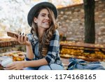 pretty laughing girl with... | Shutterstock . vector #1174168165