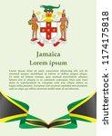 flag of jamaica  commonwealth... | Shutterstock .eps vector #1174175818
