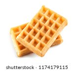 two waffles isolated on white... | Shutterstock . vector #1174179115