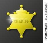 wild west sheriff metal gold... | Shutterstock . vector #1174181038