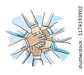 stack of business hands ... | Shutterstock .eps vector #1174193902