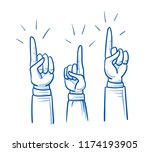set of business hands  raised... | Shutterstock .eps vector #1174193905