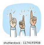 set of business hands  raised... | Shutterstock .eps vector #1174193908
