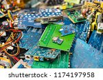 e waste heap from discarded... | Shutterstock . vector #1174197958