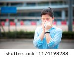 young woman feel allergy and... | Shutterstock . vector #1174198288