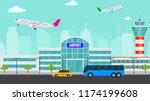 vector airport illustration... | Shutterstock .eps vector #1174199608