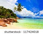 palms on tropical beach  ... | Shutterstock . vector #117424018