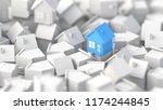 blue house among white houses.... | Shutterstock . vector #1174244845