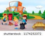 student cleaning school area... | Shutterstock .eps vector #1174252372