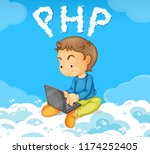 a boy coding php on cloud... | Shutterstock .eps vector #1174252405