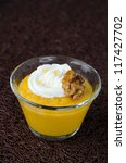 pudding with pumpkin and mango - stock photo