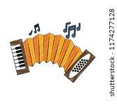 accordion music instrument... | Shutterstock .eps vector #1174277128