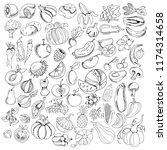 big set of hand drawing line... | Shutterstock .eps vector #1174314658