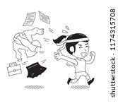 cartoon businesswoman changing... | Shutterstock .eps vector #1174315708