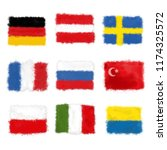 Watercolor Splash Collection of World Flags. German, French, Italian, Turkish, Sweden and other Countries  Banners Isolated on White Background.