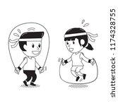 cartoon man and woman jumping... | Shutterstock .eps vector #1174328755