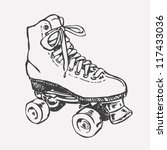 Retro Roller Skate. drawing style. vector object isolated on white.